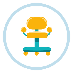 Office chair circle icon