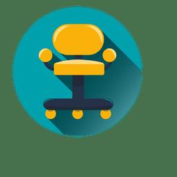 Icono redondo de silla de oficina