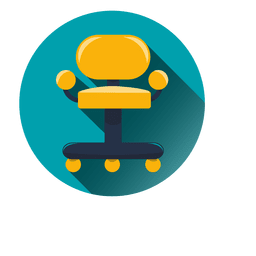 Office chair round icon