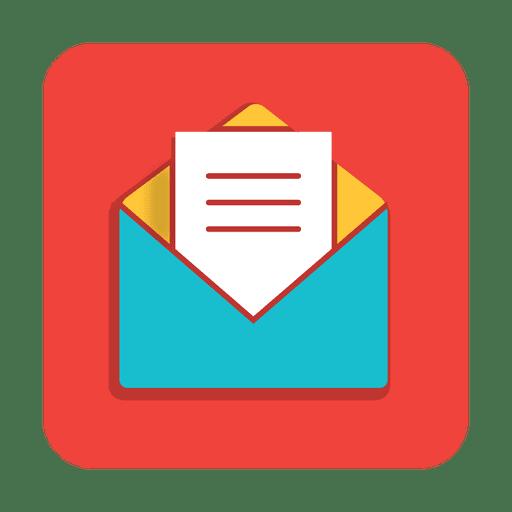 Icono cuadrado de mensaje abierto