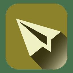 Ícone quadrado de avião de papel