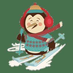 Desenho de esqui pinguim