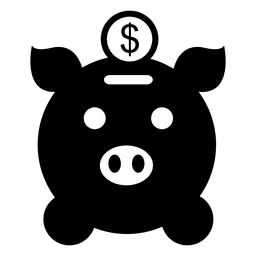 Pig bank with coin icon