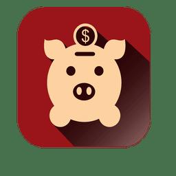 Icono de banco de cerdo cuadrado