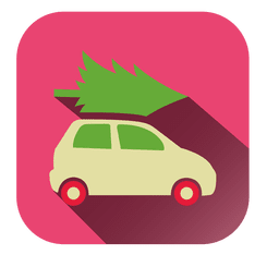 Pine tree car square icon