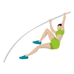 Pole vaulting sport cartoon