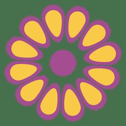 Púrpura amarilla icono floral