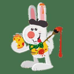 Conejo artista pintando huevos.