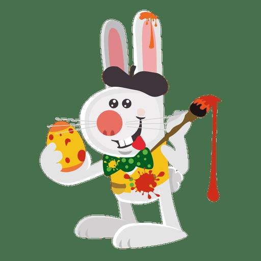Conejo artista pintando huevos. Transparent PNG