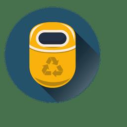 Papelera de reciclaje icono redondo sobre círculo