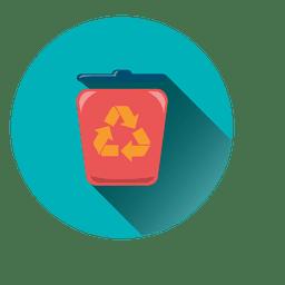Papelera de reciclaje icono redondo