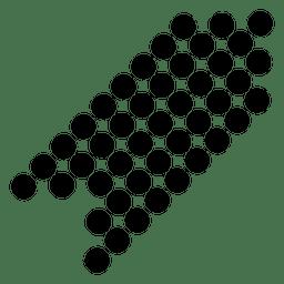 Seta de pontos do canto direito