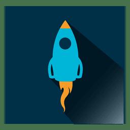 Ícone quadrado de foguete
