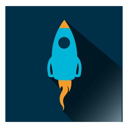 Icono de cohete cuadrado