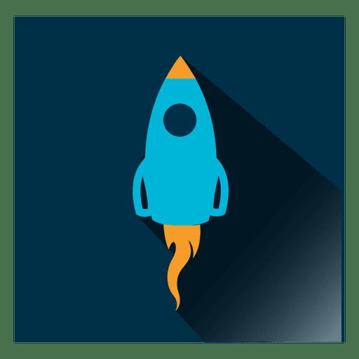 Icono cuadrado de cohete