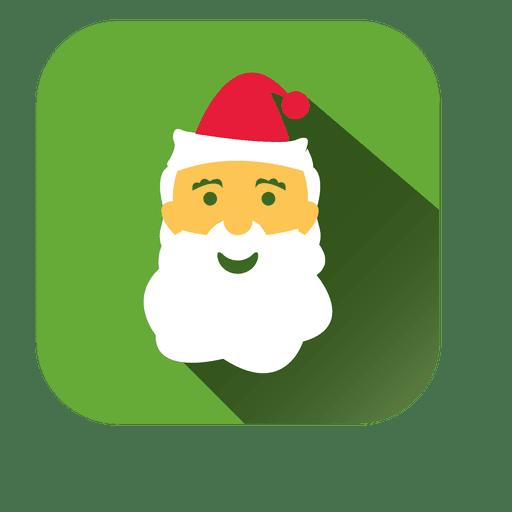 Icono cuadrado de dibujos animados de cara de Santa