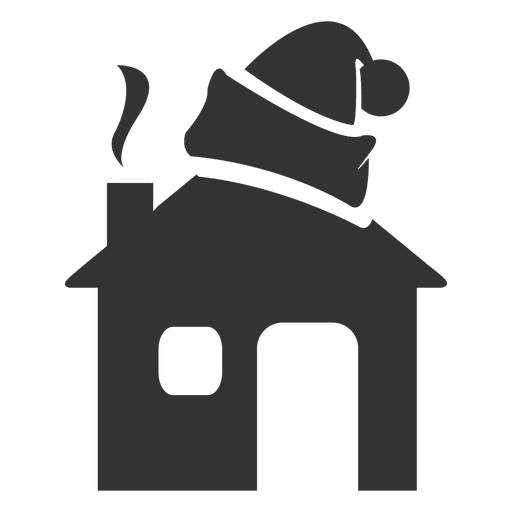 Figura de icono de sombrero de Santa en casa