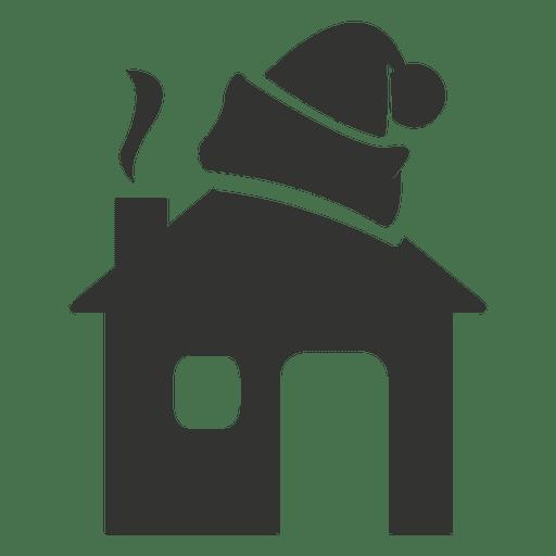 Santa Hat on House Icon Figure Transparent PNG