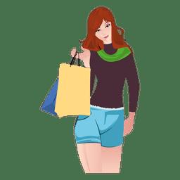 Dibujos animados de niña de compras con bolsas