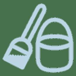 Pá ícone de linha de balde