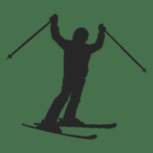 Silueta de deslizamiento de esquí