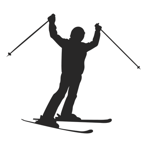 Ski sliding silhouette