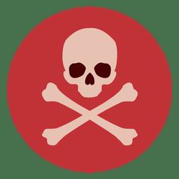 Icono de círculo de huesos de cráneo
