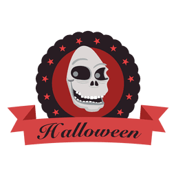 Skull face halloween label