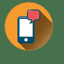 Icono de círculo de chat de smartphone