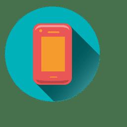 Smartphone drop shadow circle icon