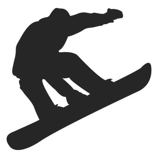 Snowboard jumping silhouette