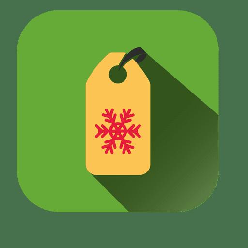 Icono cuadrado de etiqueta de copo de nieve