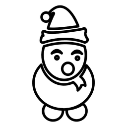 Icono de línea de muñeco de nieve