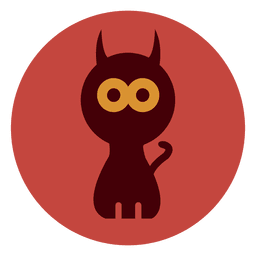 Ícone de círculo de gato assustador