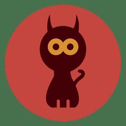 Icono de círculo de gato espeluznante
