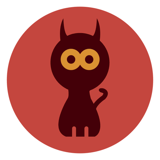 Spooky cat circle icon Transparent PNG