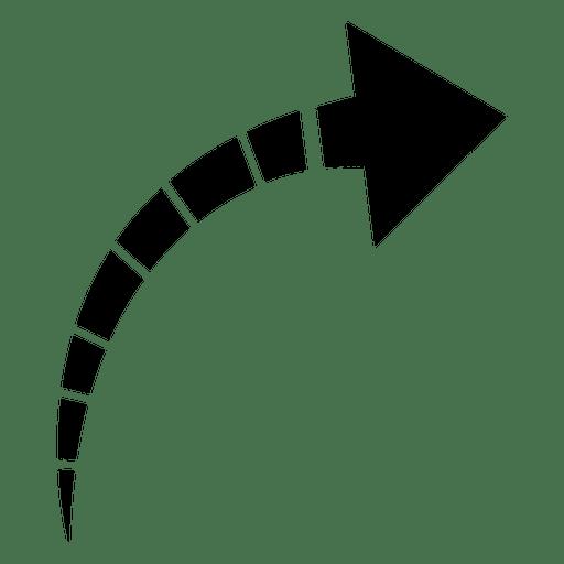 Striped curve arrow