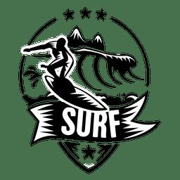 Rótulo de esporte de surf