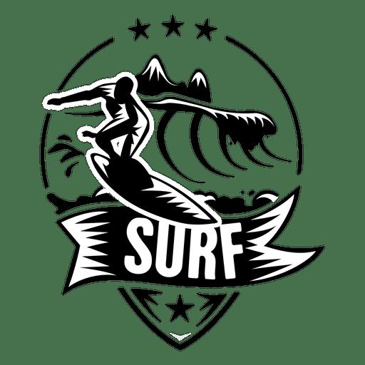 Surfing sport label Transparent PNG