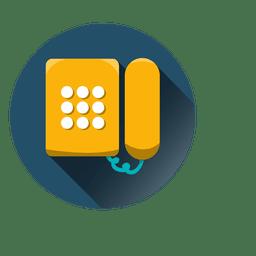 Ícone redondo de telefone de parede