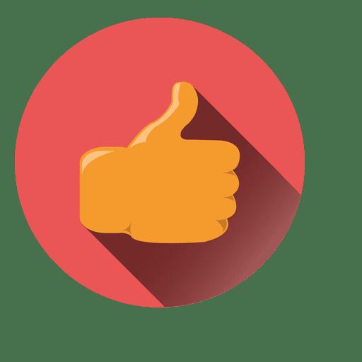 Ícone de círculo com polegares para cima