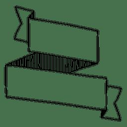 Two folded doodle ribbon