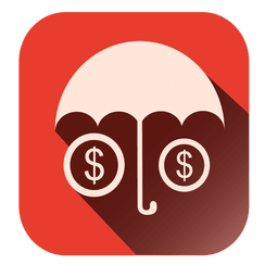 Umbrella dollars square icon
