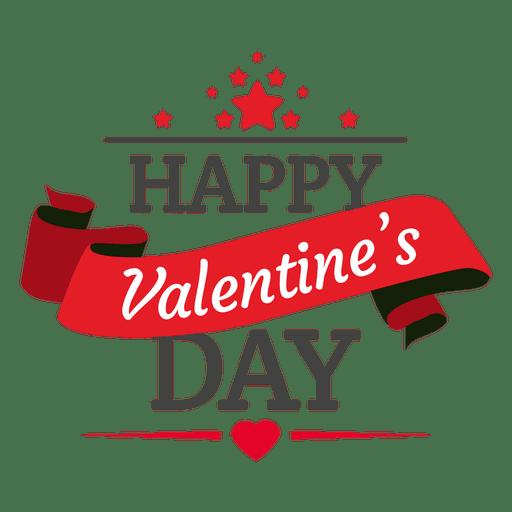 Valentines day ribbon badge