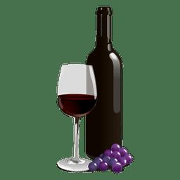 Botella de vino de vidrio