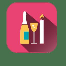 Ícone quadrado vela de vinho