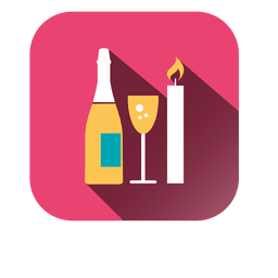 Wine candle square icon