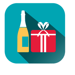 Wine giftbox square icon