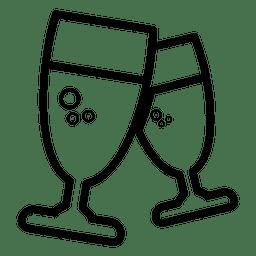 Ícone de linha de taças de vinho