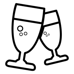 Icono de línea de copas de vino